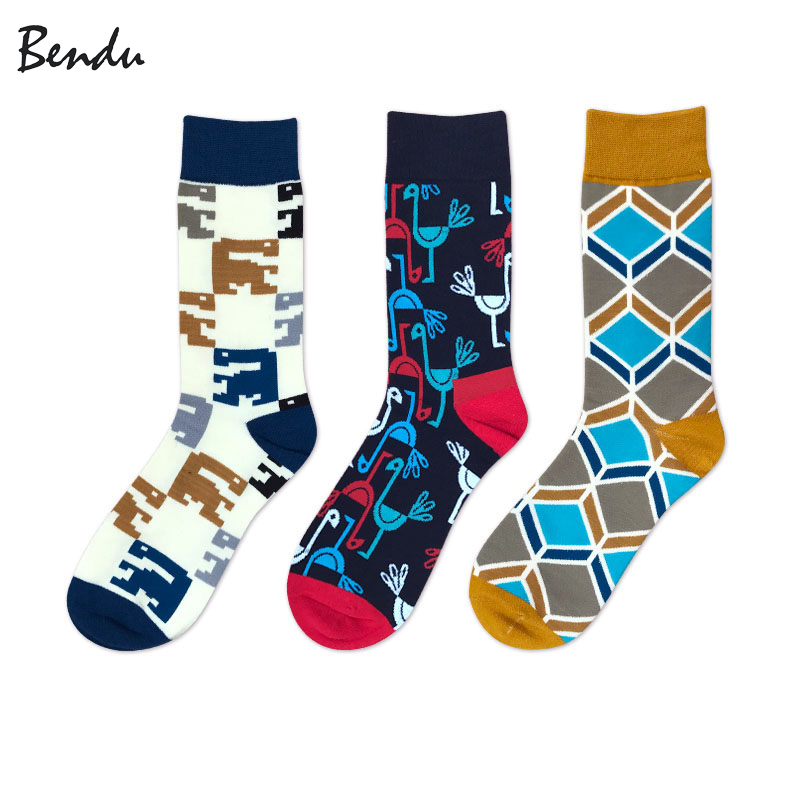 Bendu Men Cotton Colorful Fashion Socks Brand New Anti-Bacterial Deodorant Casual Man Sock (3 Pairs / Lot)