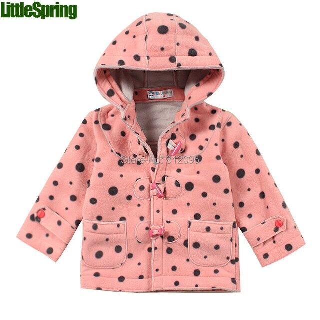 Littlespring розничных детская мода с капюшоном пальто мальчики девочки кнопка осень и зима верхняя одежда одежда