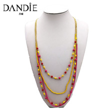 Dandie seed bead long three layer necklace with acrylic bright jewelry