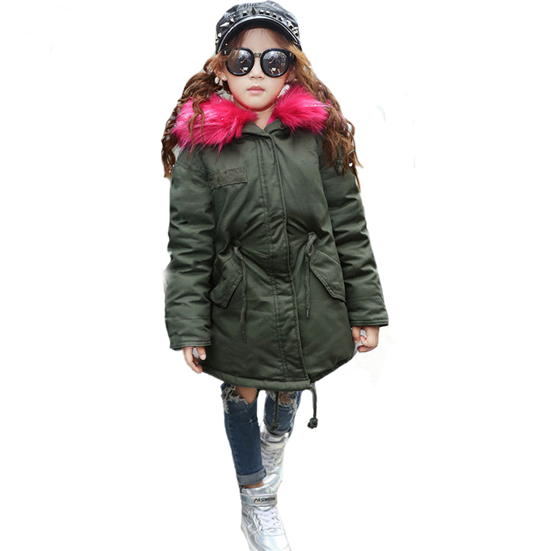 Fahison 2017 children clothing long boys winter jackets girls down coat big fur collar hooded children outwear thicken overcoat women winter coat leisure big yards hooded fur collar jacket thick warm cotton parkas new style female students overcoat ok238