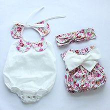 2016 Fashion Infant Baby Girls Floral Romper Bodysuit+Shorts Bottoms+Flower Head Band 3pcs Outfits Set Sunsuit
