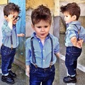 Children Fashion Boys Clothing Set Blue striped Long-sleeved Shirt + Strap Jeans Kids Clothes Set 1-5 Years Baby Boys Suit Set