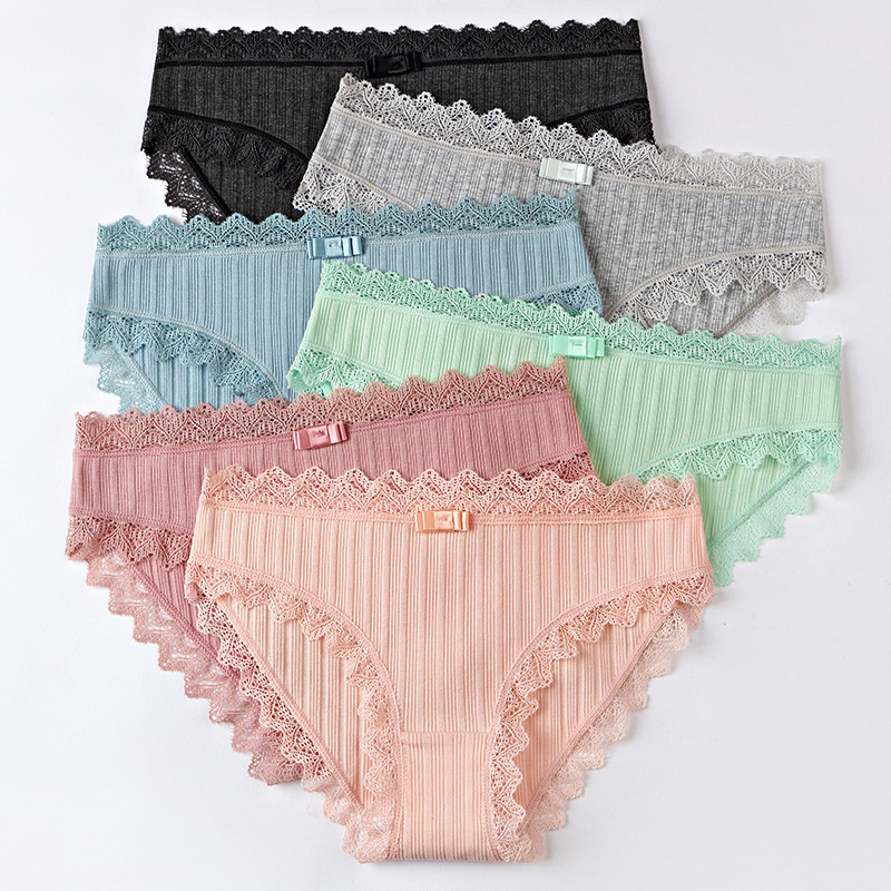 Women's Cotton   Panties   Female Striped Breathable Briefs Sexy Lace Edge Underwear Women Cotton Crotch Lingerie Intimates Hollow