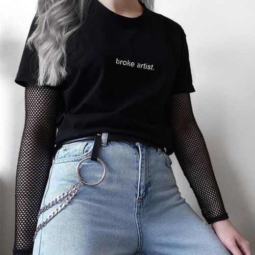 Broke Artist Black Graphic   T  -  shirt   Letters Printed Tumblr Gurnge Aesthetic Tee 80s 90s Girls Fashion Cool   T     Shirt   Harajuku Tees