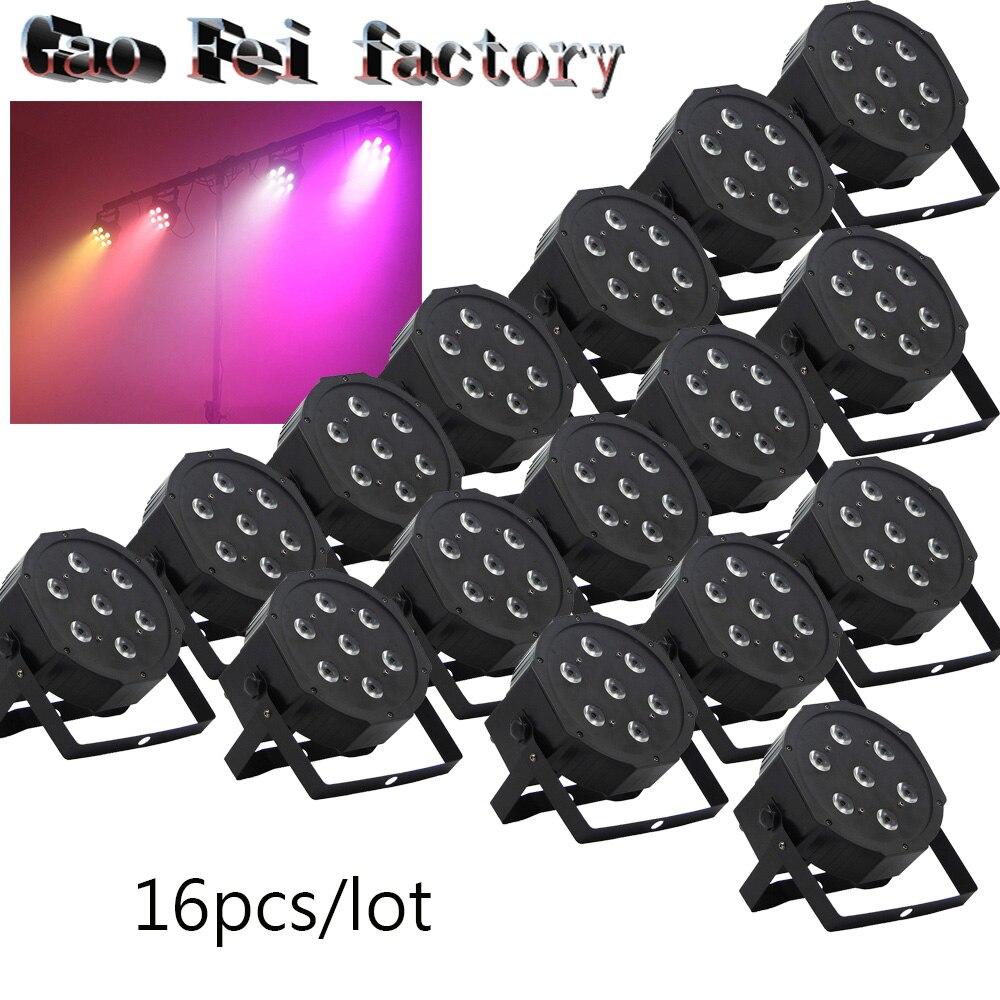 16pcs/lot 7 x 12W RGBW 4in1 not Waterproof Led Par Light Outdoor LED Par Cans DMX LED PAR Light 8Channels No Noise Mini Size