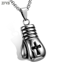 ZFVB Hiphop Boxing Necklaces Pendant Men 316L Stainless Steel Vintage Cross Necklace & Pendants Jewelry Gift N0115-1