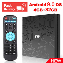 T9 RK3328 Quad core 4G 32G Android 9.0 TV Box 2.4GHz WiFi HD 4K H.265 Bluetooth 4.0 Google Play Store Netflix Youtube Box TV цена и фото