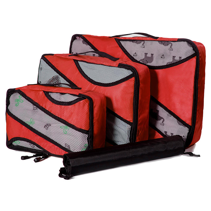 QIUYIN Carryon Lightweight Packing Cubes Storage Bags 3 Set Travel Luggage Organizer-One Sided Men And Women Large capcity