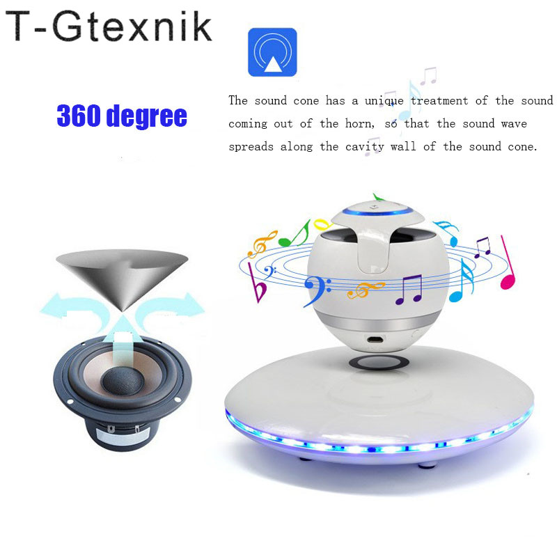 T-Gtexnik Portable Wireless Floating Orb bluetooth wireless stereo rotating 360 degree speakers Magnetic levitation Stereo sound portable magnetic floating speaker wireless stereo rotating 360 degree speakers magnetic levitation wireless bluetooth speaker