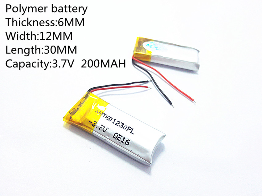 Free shipping Polymer battery 200 mah 3.7V 601230 smart home MP3 speakers Li-ion battery for dvr,GPS,mp3,mp4,cell phone,speak коврик для панели в авто mp3 mp4