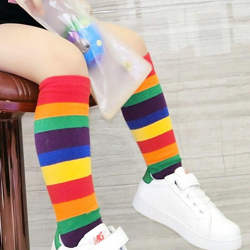 1 Pair Baby Kids Boy Girl Socks Knee High Rainbow Striped Tube Socks Warm Long Socks
