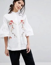 D0409F6 summer flower bird embroidery shirt 8065 # new Europe and the United States model 0411