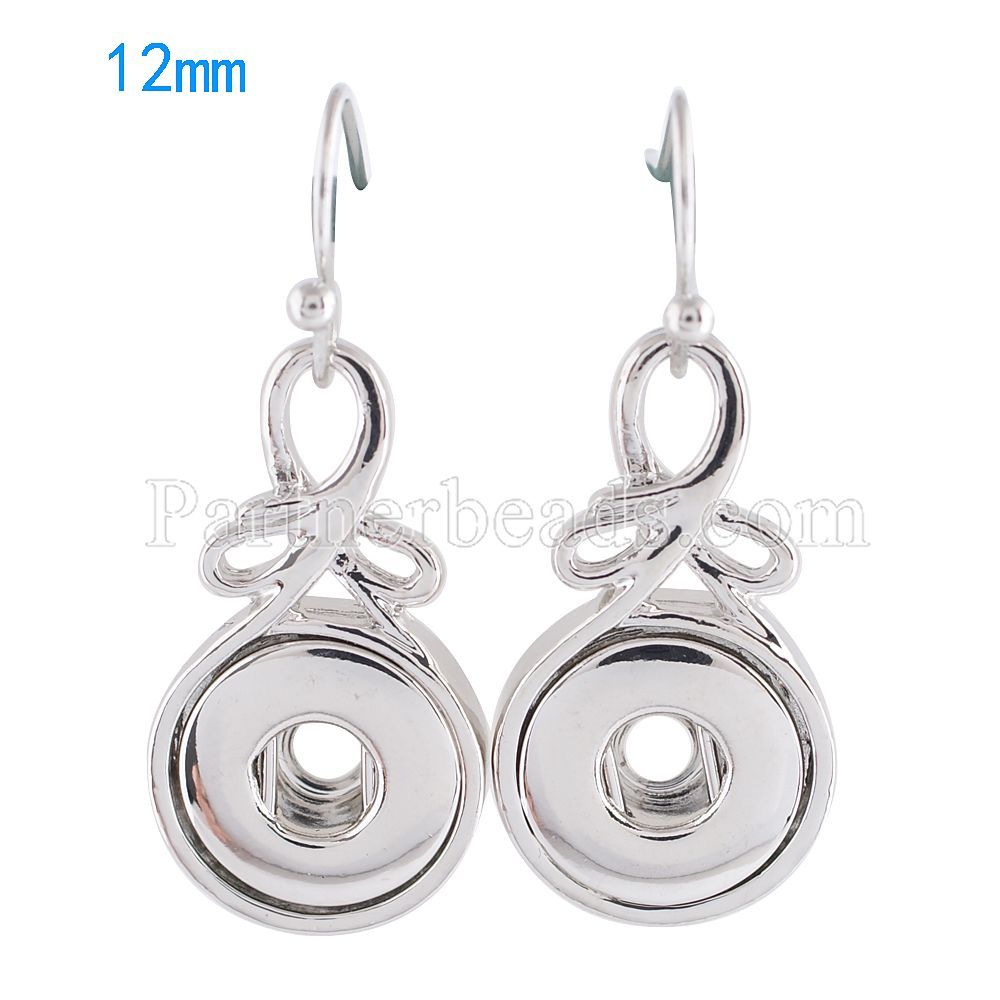 HOT sale DIY fashion earring snaps button metal earrings for snap jewelry fit 12mm small ginger snaps buttons charm KS0977-S