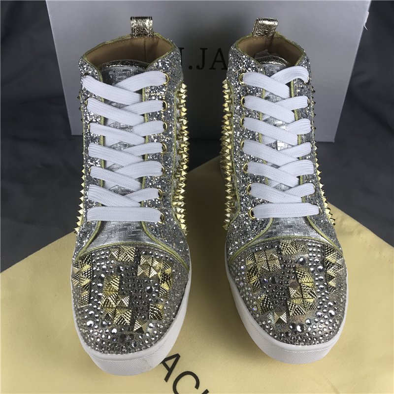Hombre Spike Gold Fashion Shoes Sneakers High-top Flat Red bottom - Zapatos de hombre - foto 3