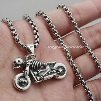 Motorcycle Skull Skeleton 925 Sterling Silver Mens Biekr Pendant 8B017(Necklace 24inch)