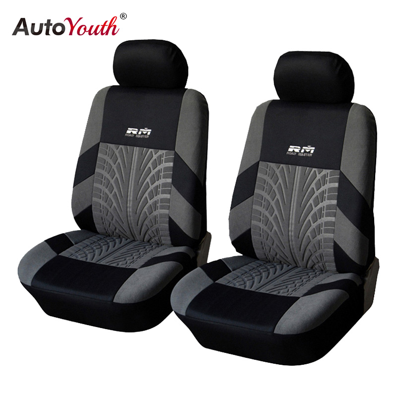 AUTOYOUTH Hot Sale Front Car Seat Covers Universal Fit Tire Track Detail Vehicle Design Seat Protective Interior Accessories button front frilled detail top