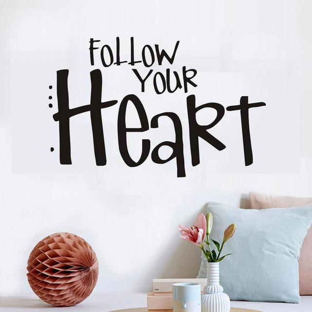 Follow Your Heart Wall Stickers For Kids Room Encourage Children Decals Mural Art Wallpaper Home