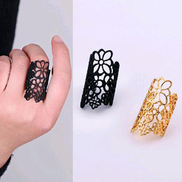 FAMSHIN 2016 New fashion accessories lace trimming flowers Woman ring finger rin