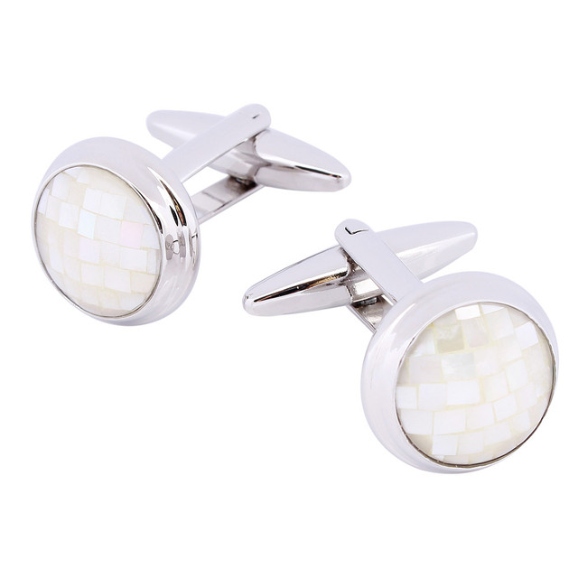 Rhodium Plated White Mother Of  Pearl Cuff Links For French Men Fashion Shirts Cuff Linked Jewelry