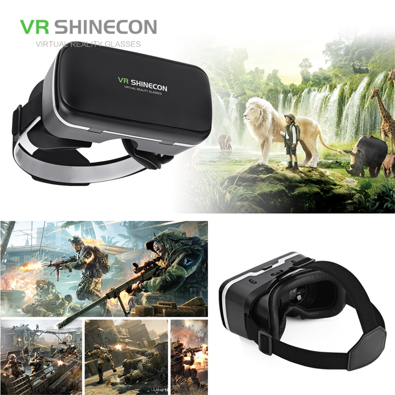 free shipping VR SHINECON 3D Box 6.0 Virtual Reality Glasses VR Box Helmet Realidade Virtual With Gamepad For 4.7-6 inch