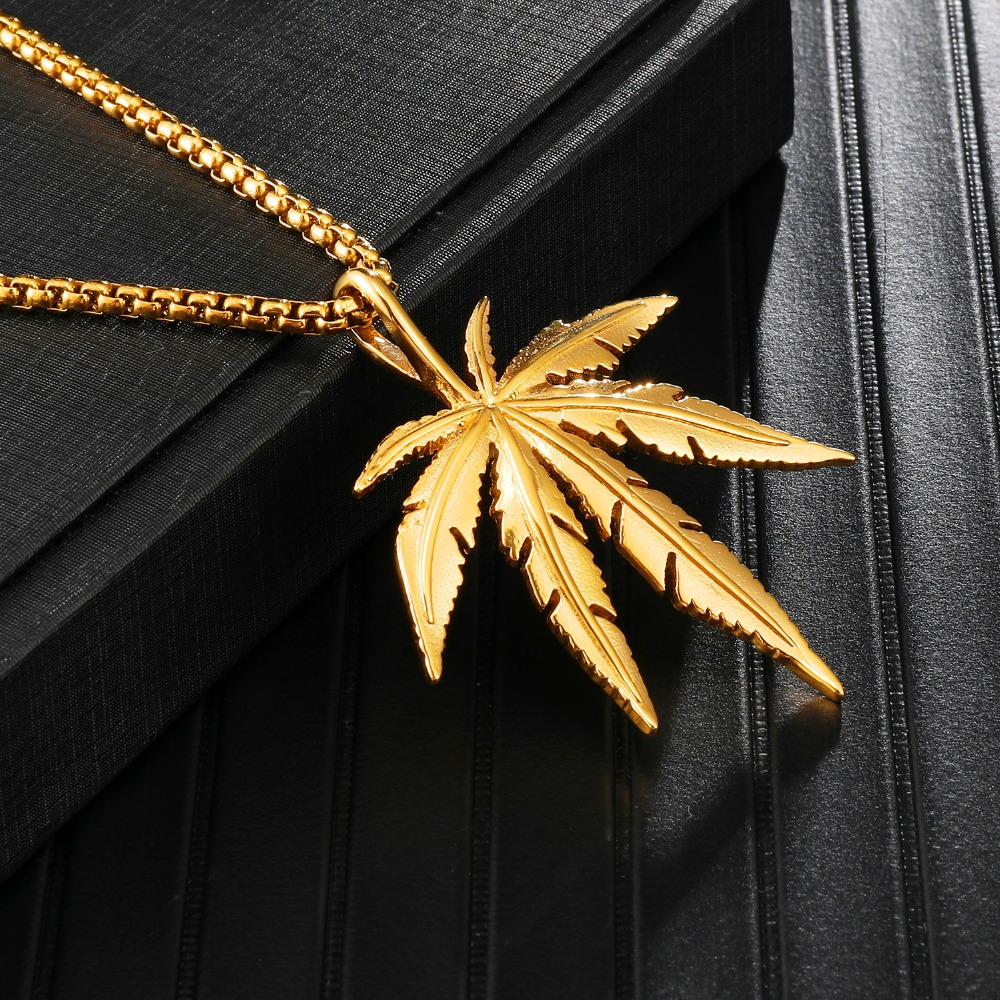 Bling Gold Color Weed Maple leaf Pendants & Necklaces for Men HIP Hop Jewelry Dropshipping Stainless Steel