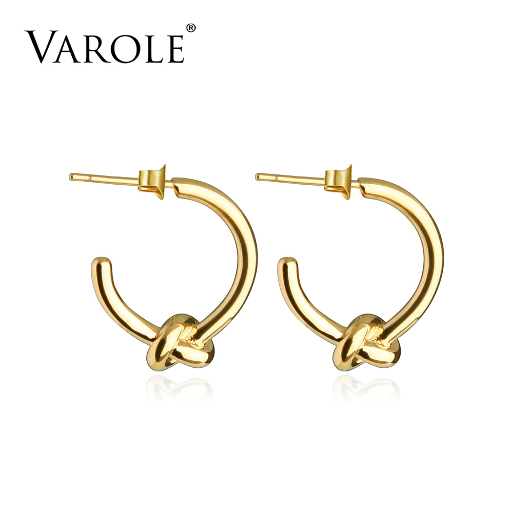 VAROLE Wholesale Classic Knot Earings Round Gold Color Stud Earrings For Women Jewelry Oorbellen Ohrringe Earring Brincos four color round stud earring set 4pair