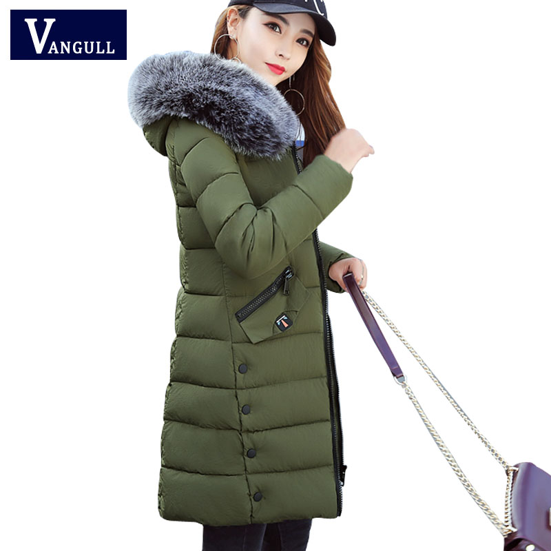 2017 Winter Jacket Women Cotton Coat Fur Collar Hood Parka Female Long Jackets Thick Warm Outerwear chaqueta mujer Free shipping maxi coats thicken winter jacket women 2017 fur collar over knee long winter jacket parka warm cotton coat chaqueta mujer c2601