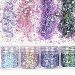 Image 5 - Set of 4 10ml Chunky Pink series Nail Glitter Powder Sequins Powder For Nail Art Decoration Gradient Set ultra fine Nail Glitter
