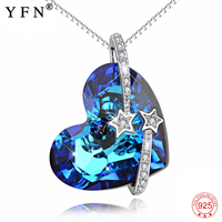 Geniuses 925 Sterling Silver Blue Heart of Ocean Necklace I Love You To The Moon And Back Pendants Necklaces Women Gift GNX14002
