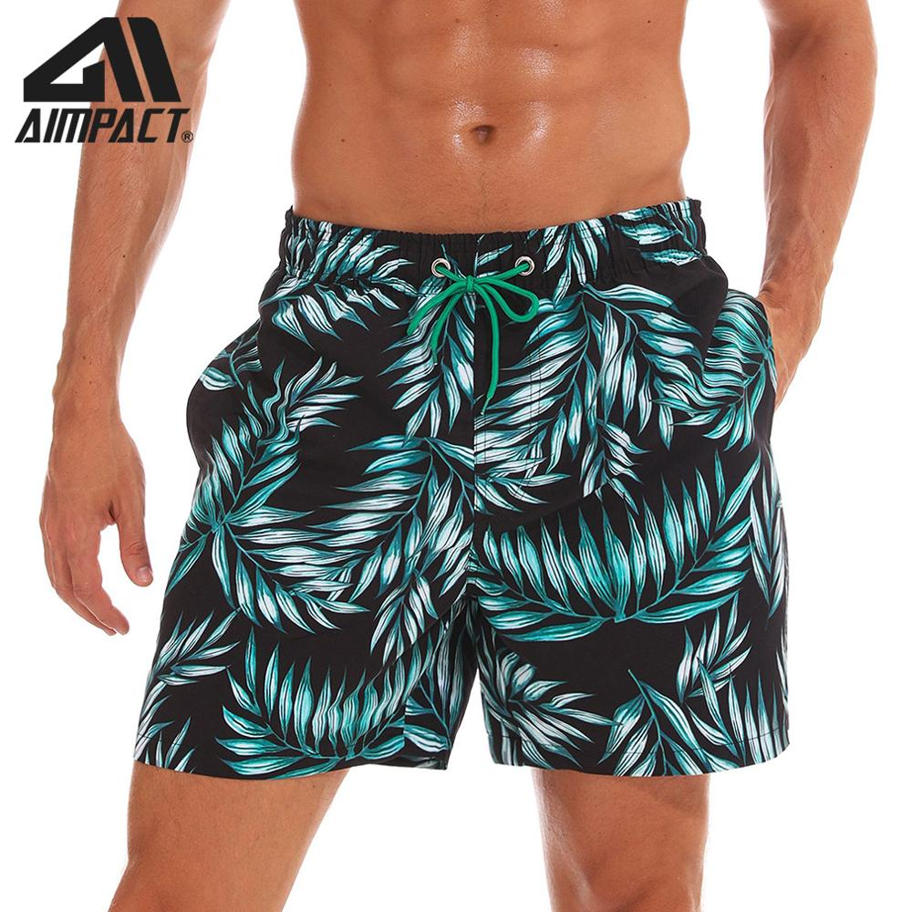 AIMPACT Men's Swimming Trunks Quick Dry Bathing Suits Beach Holiday Party Board Shorts Bamboo Leaves Boxing Shorts AM2193