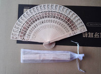 Free Shipping 50pcs/lot sunflower design fragrance wood fan Chinese hand fan for wedding favor gift with with Gift bag