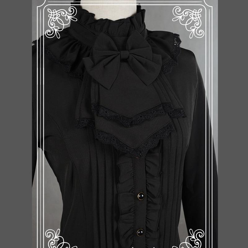 თეთრი / შავი Chiffon Blouse Slim იარაღი - ქალის ტანსაცმელი - ფოტო 2