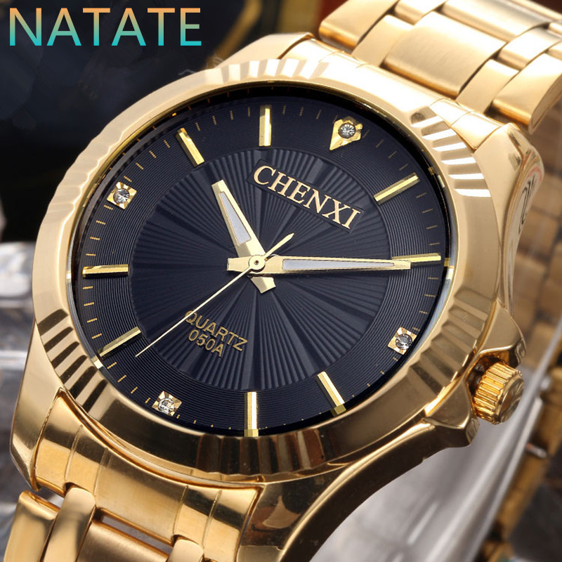 NATATE CHENXI Clock Gold Fashion Men Watch Full gold Stainless Steel Quartz Watches Wrist Watch Wholesale Gold Watch Men 0940