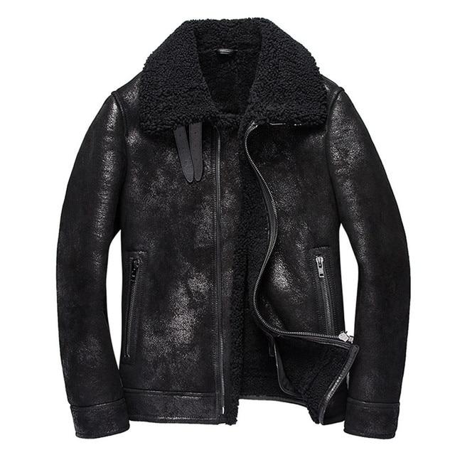 Denny Dora Mens Shearling Coat Mens Fur Coat Black Crack Texture