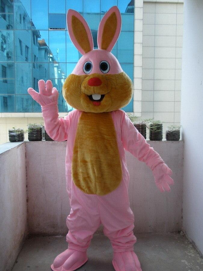 Costume de mascotte de lapin rose de Style professionnel nouveau Costume taille adulte