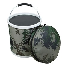 Outdoor Digital Camouflage Folding Bucket Portable Single Soldier Army Tactical Canvas Fishing Car Wash