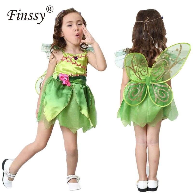 Kawaii Tinkerbell princess Dress Cosplay Costume per le Ragazze Elf Bambini di Halloween Meraviglioso Woodland Garden Vestito Verde con ala
