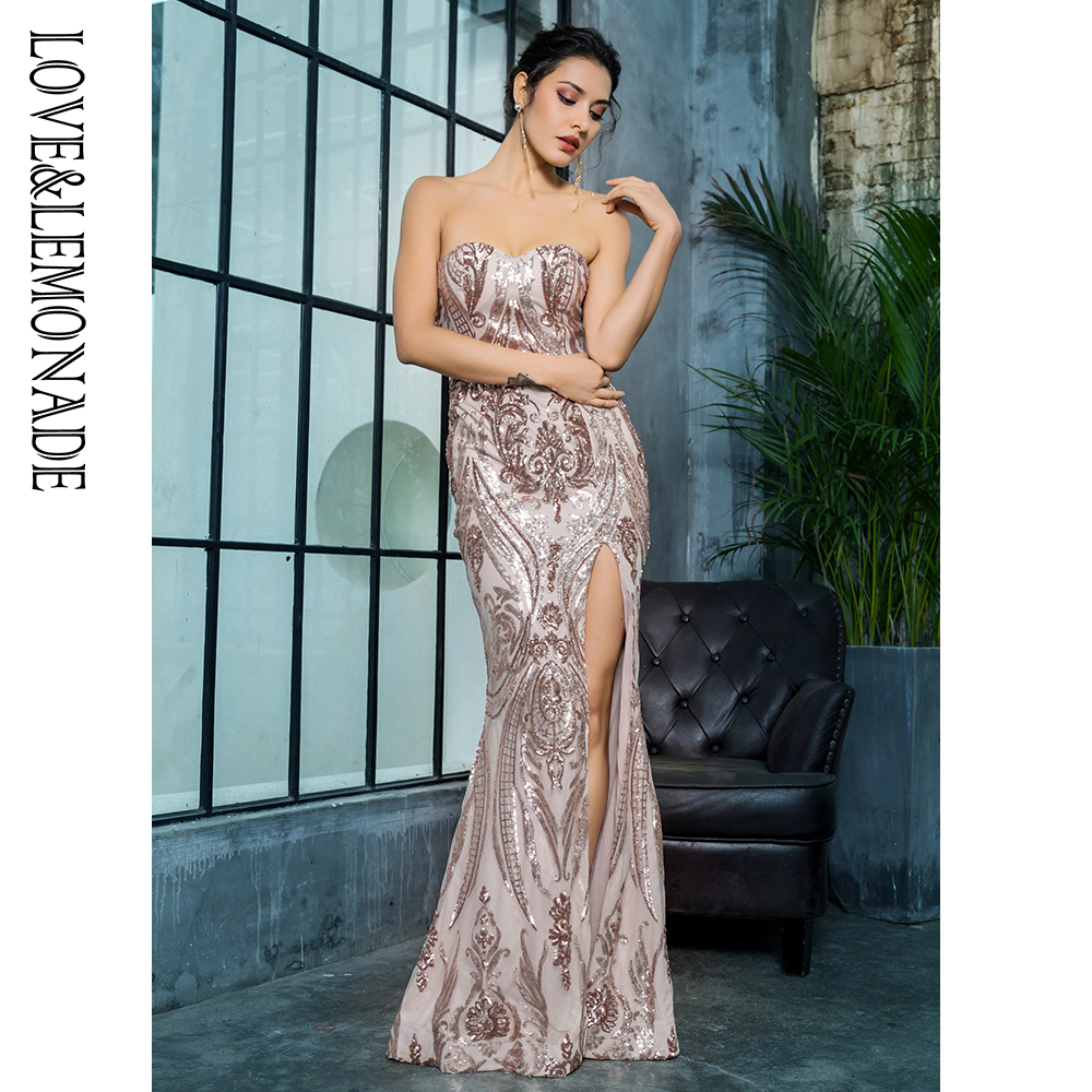 Love Lemonade Sexy Strapless Cut Out Geometric Pattern Sequins Bodycon Maxi Dress LM81342 2 ROSEGOLD