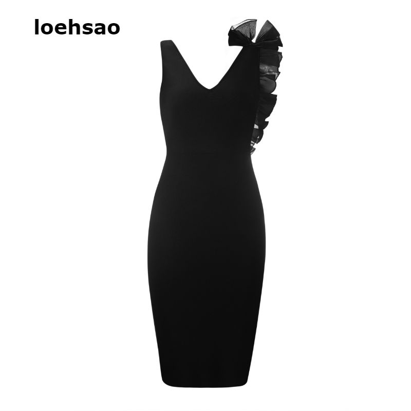 Fashion Elegant Women s Bandage Dresses Black Deep V Neck Summer Dresses Vestido Ruffles Tank Evening