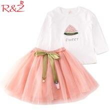 d49bfb8cfd1b R & Z 2017 conjunto de Ropa para Niñas Camiseta de manga larga + falda 2 piezas  trajes princesa dibujos animados sandía perla ci.