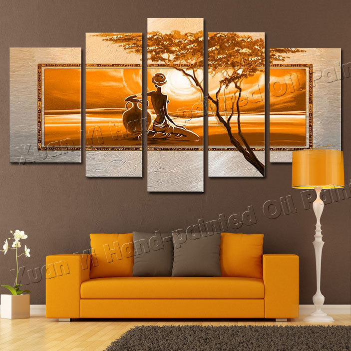 5 Panel Hand Painted Large Canvas Art Nude Girl Africa Naked Women Desert Tree Wall Decoration