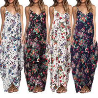 Rayon Printing Easy Camisole Sleeveless Longuette Dress