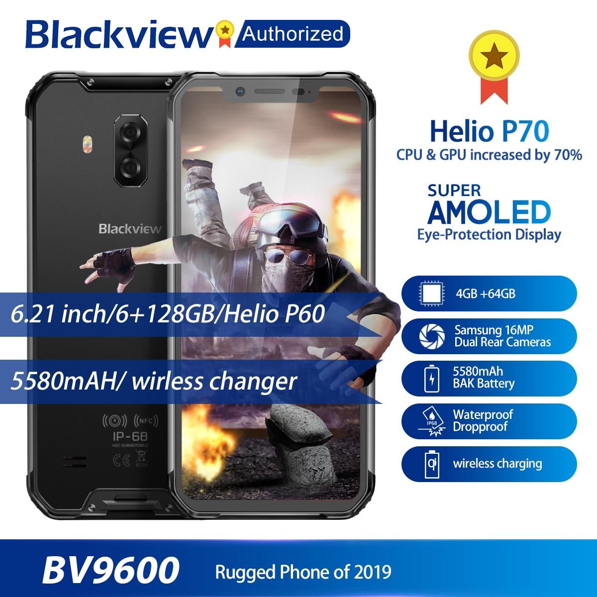 Blackview BV9600 Rugged Waterproof Helio P70 Global 4G Mobile Phone 6.21 Android 9.0 Smartphone 4GB RAM 64GB MT6771T 5580mAh