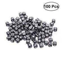 100 шт пластиковые игральные кости 6 Сторона Цветные Кубики для KTV вечерние бар игры-#15(черный
