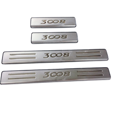 for Peugeot 3008GT 3008 GT 2016 2017  Steel Car-Styling Accessories Exterior Outer Door sill Scuff Plate Protector Cover  4PCS