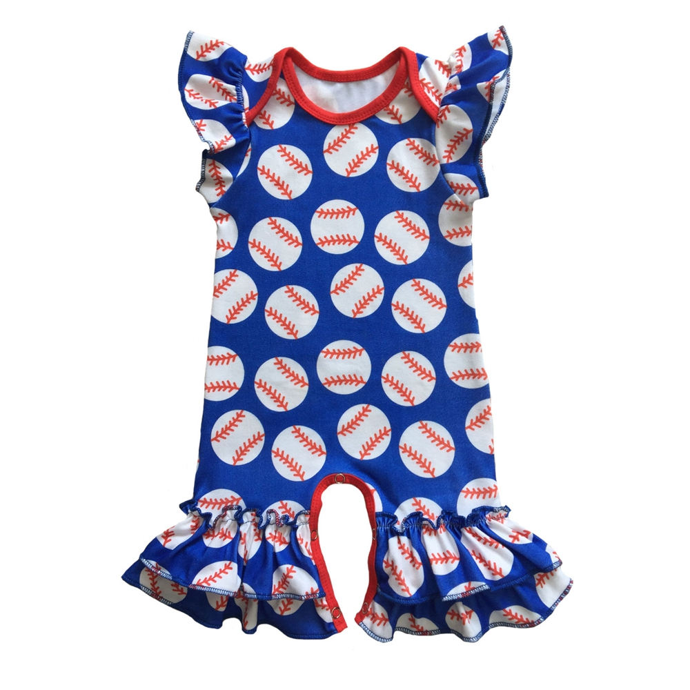 custom print Infant clothes summer football red blue baseball season ...