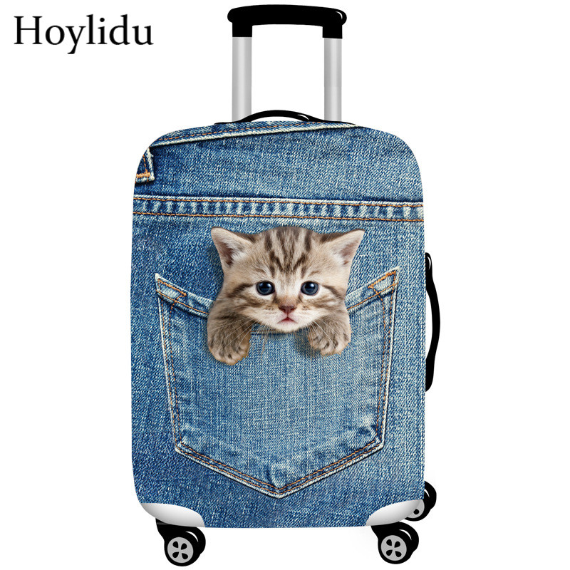 3D Cat Elastic Thick Luggage Cover for Trunk Case Apply to 22-25 Suitcase,Suitcase Protective Cover Travel Accessor