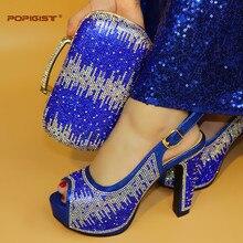 504984c6 2018 azul real nueva llegada señoras italiano Zapatos y bolsa conjunto  decorado con rhinestone italiano Zapatos con el bolso a j.
