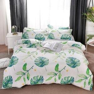Image 5 - Home Textile Green Leaves Bedding Set 3/4pcs Geometric Bed Set White Grid Duvet Cover Set Brief Bed Linen Flat Sheet Pillowcase