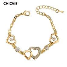Chicvie новые шармы браслеты и в форме сердца для женщин Золотая